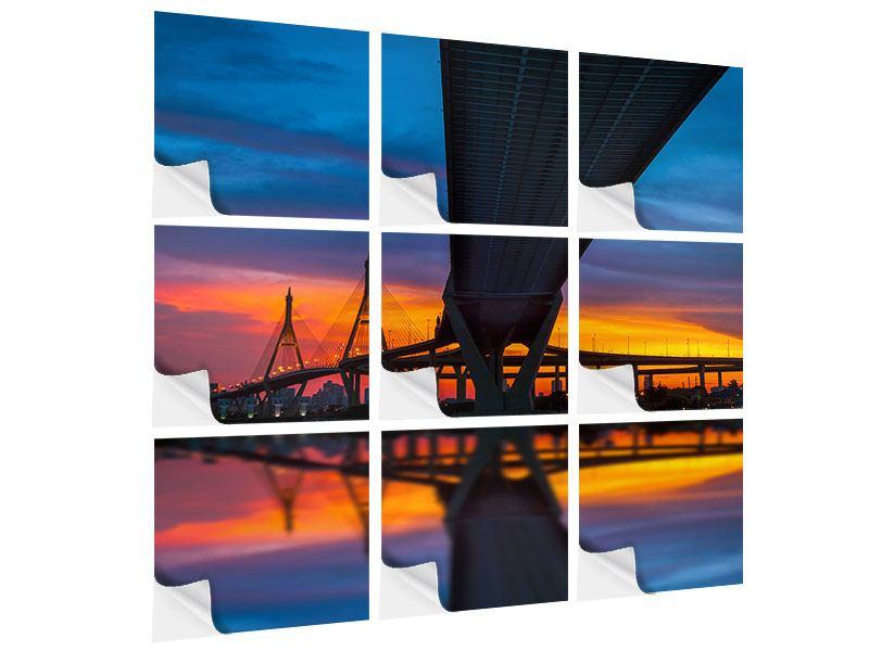 Klebeposter 9-teilig Bhumiboll-Brücke bei Sonnenuntergang