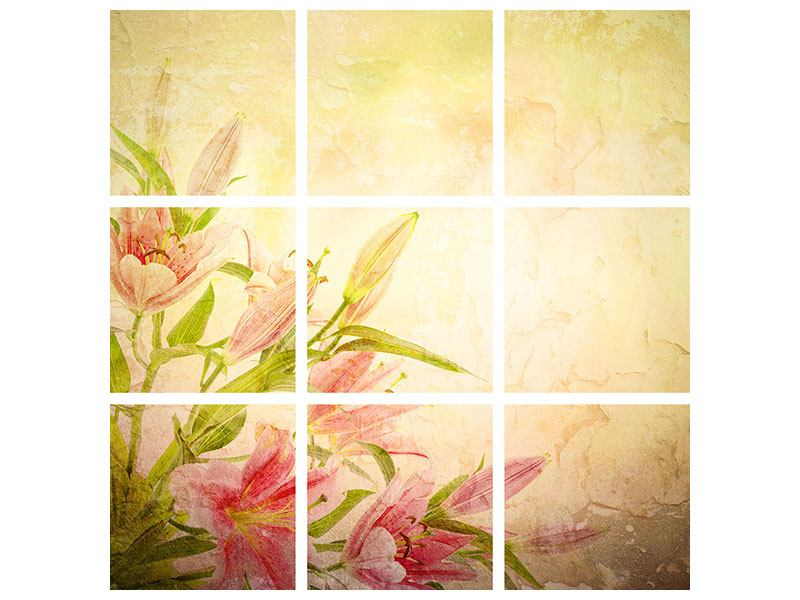Klebeposter 9-teilig Lilien-Gemälde