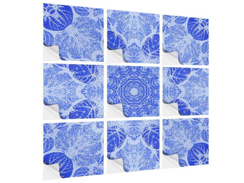 Klebeposter 9-teilig Blaues Ornament
