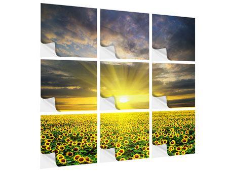 Klebeposter 9-teilig Abenddämmerung bei den Sonnenblumen