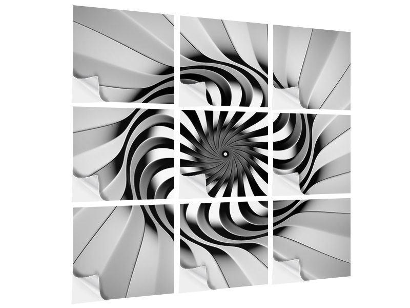 Klebeposter 9-teilig Abstrakte Spirale