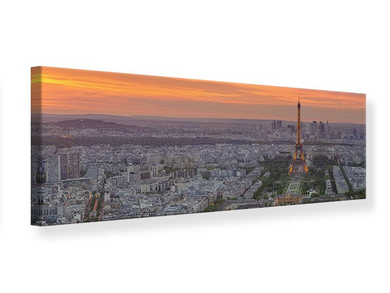 Leinwandbild Panorama Skyline Paris bei Sonnenuntergang