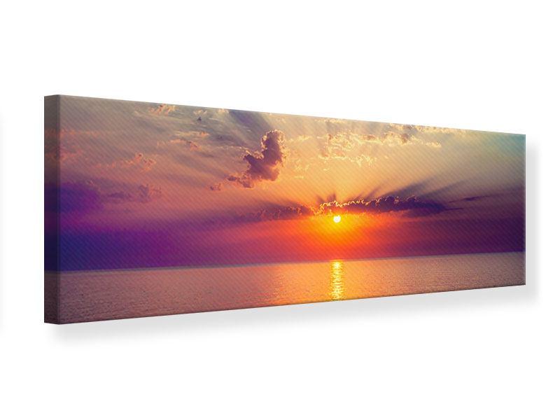 Leinwandbild Panorama Mystischer Sonnenaufgang
