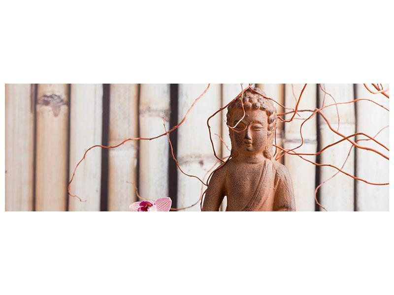 Leinwandbild Panorama Buddha + Wellness