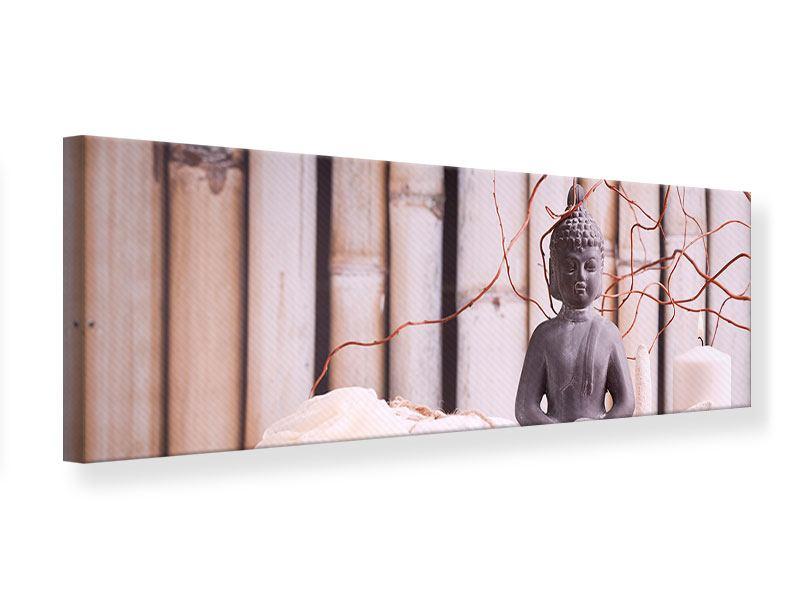 Leinwandbild Panorama Spa + Buddha