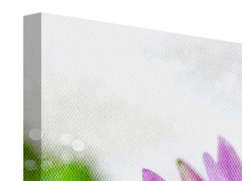 Leinwandbild Panorama Die Lotus mit Biene