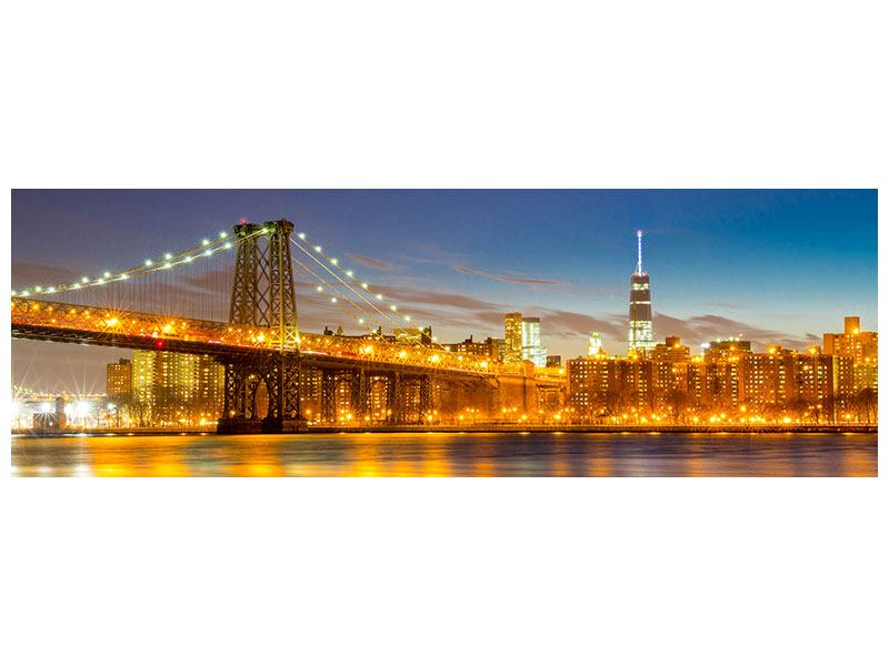 Leinwandbild Panorama Skyline NY Williamsburg Bridge