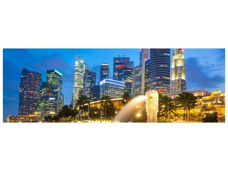 Leinwandbild Panorama Skyline Singapur im Lichtermeer