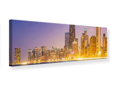 Leinwandbild Panorama Skyline Chicago in der Nacht