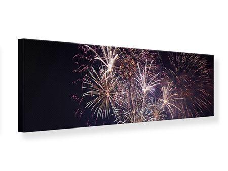 Leinwandbild Panorama Feuerwerk