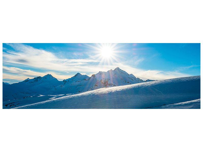 Leinwandbild Panorama Ein Wintermärchen in den Bergen