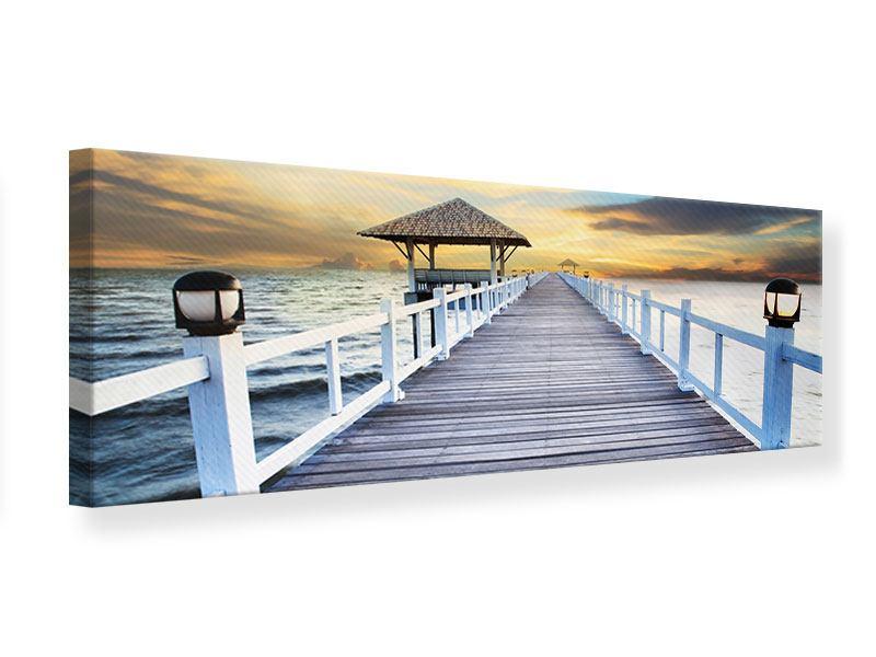 Leinwandbild Panorama Die Brücke ins Meer