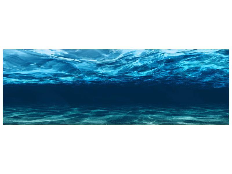 Leinwandbild Panorama Lichtspiegelungen unter Wasser