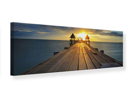 Leinwandbild Panorama Der Sonnenuntergang bei der Holzbrücke