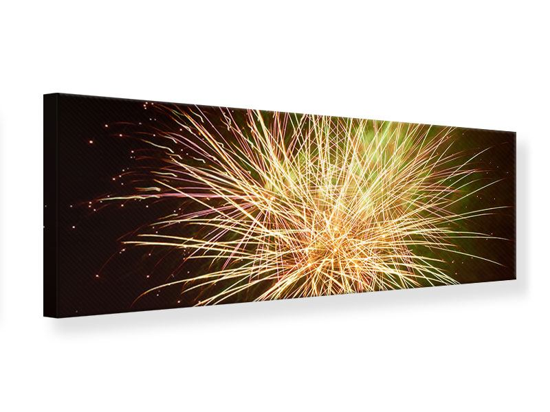 Leinwandbild Panorama Feuerwerk XXL