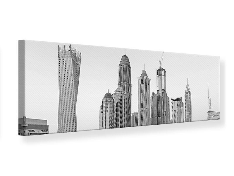 Leinwandbild Panorama Majestätische Wolkenkratzer in Dubai