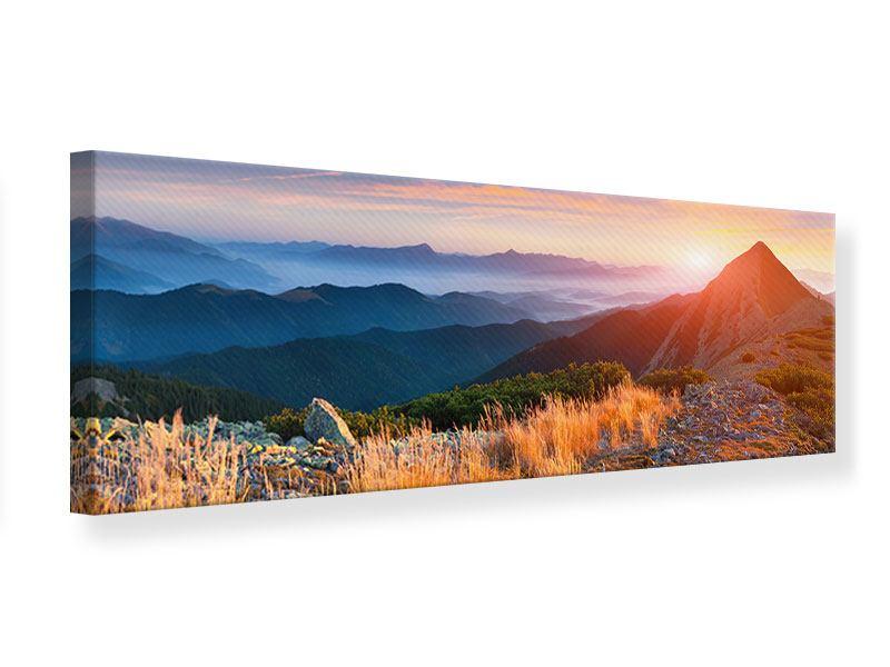 Leinwandbild Panorama Sonnenuntergang in den Alpen