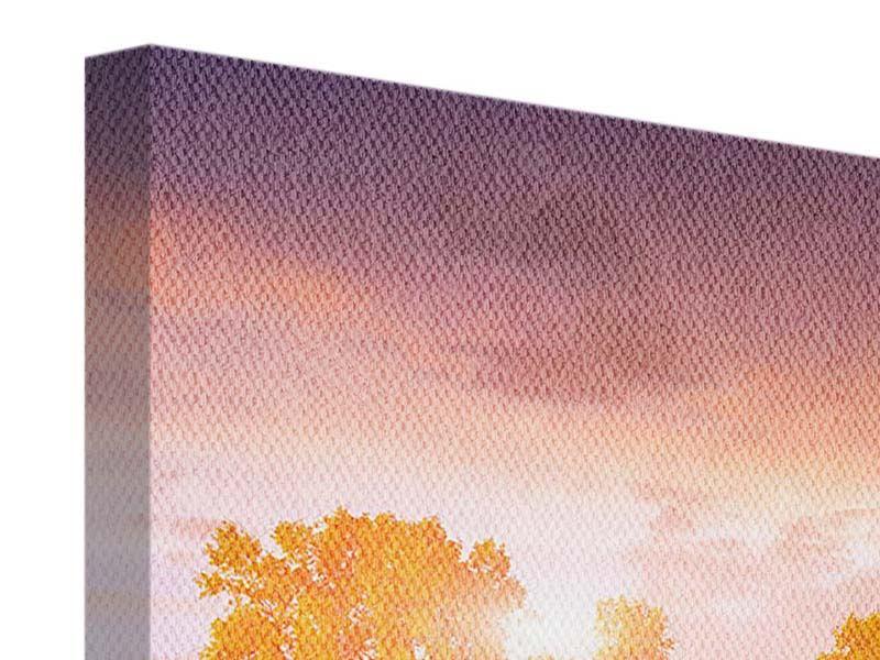 Leinwandbild Panorama Sonnenuntergang am See