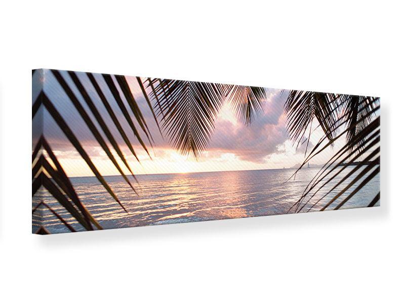 Leinwandbild Panorama Unter Palmenblätter