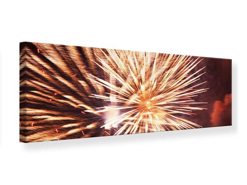 Leinwandbild Panorama Close Up Feuerwerk