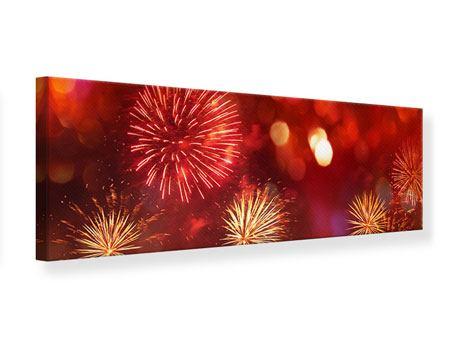 Leinwandbild Panorama Buntes Feuerwerk