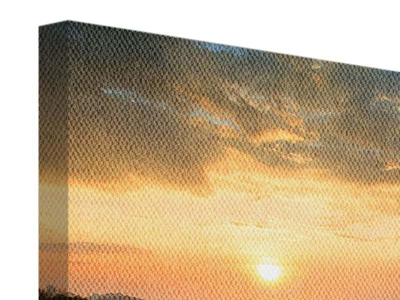 Leinwandbild Panorama Sonnenblumenfeld im Abendrot