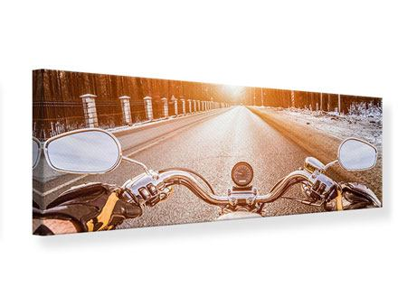 Leinwandbild Panorama Auf dem Motorrad