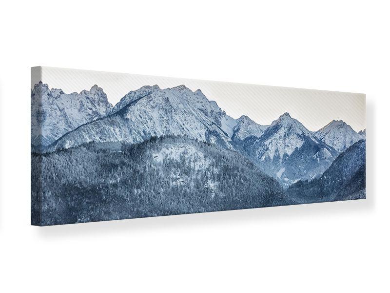 Leinwandbild Panorama Schwarzweissfotografie Berge