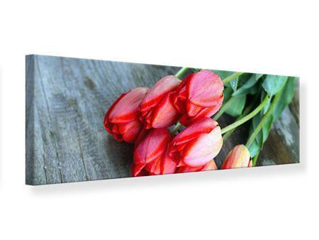 Leinwandbild Panorama Der rote Tulpenstrauss