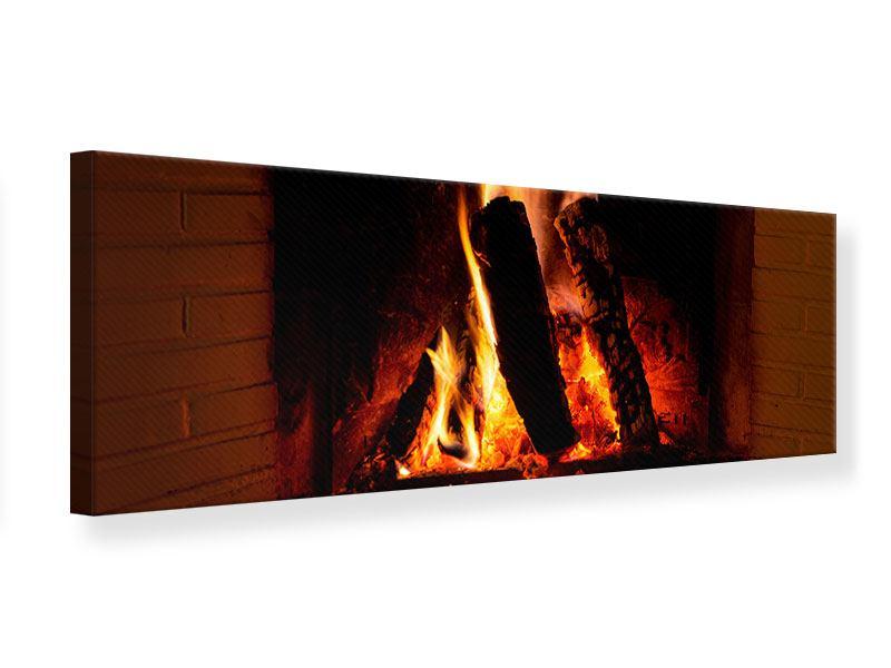 Leinwandbild Panorama Feuer im Kamin