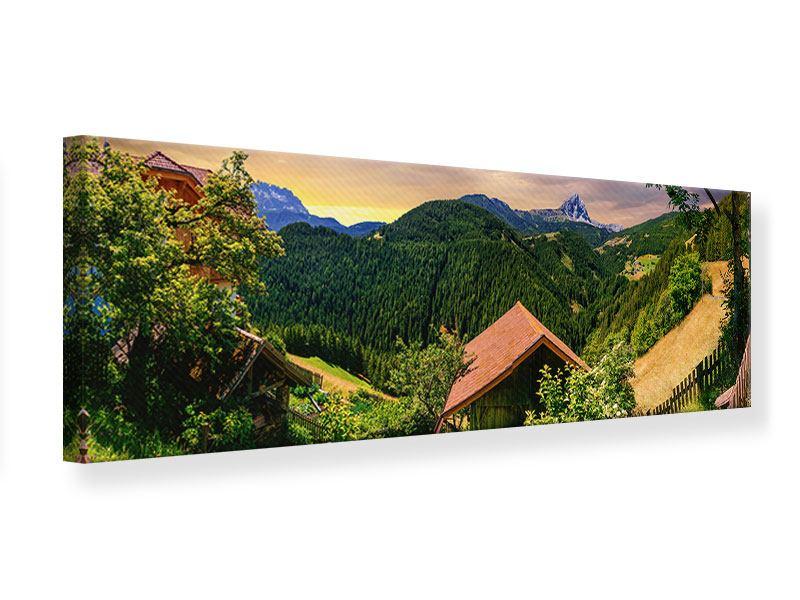 Leinwandbild Panorama Schweizer Berge im Sommer