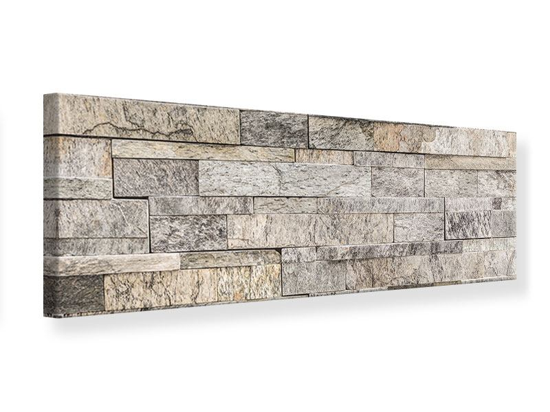 Leinwandbild Panorama Elegante Steinmauer