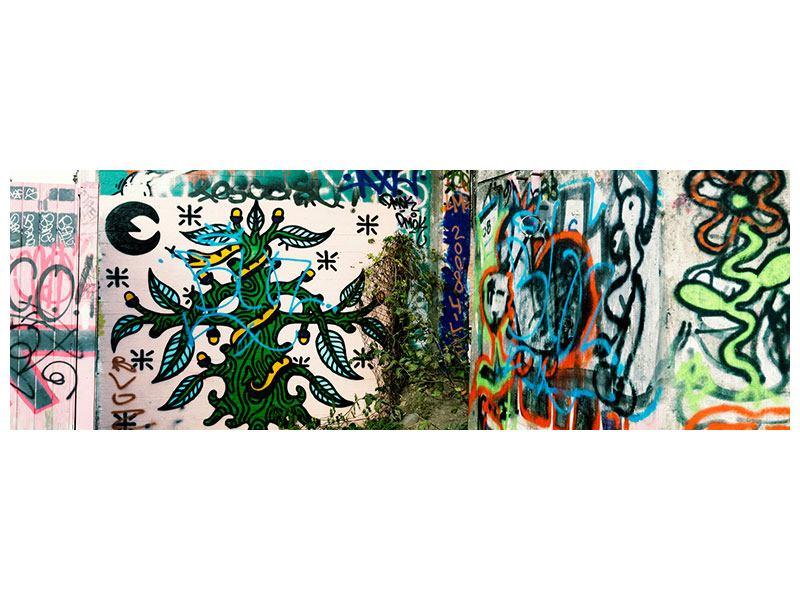 Leinwandbild Panorama Graffiti im Hinterhof