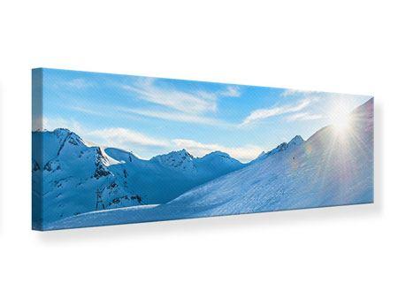 Leinwandbild Panorama Sonnenaufgang in den Bergen