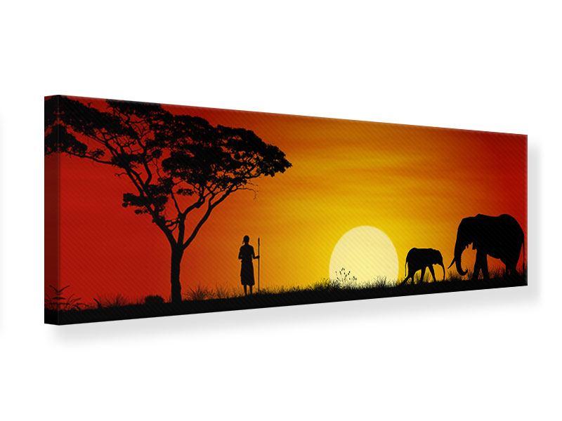 Leinwandbild Panorama Afrikanische Steppenelefanten