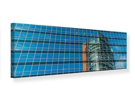 Leinwandbild Panorama Wolkenkratzer-Spiegel