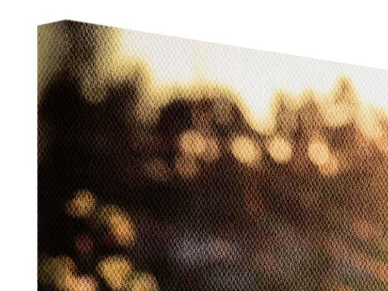 Leinwandbild Panorama Gänseblümchen bei Sonnenuntergang