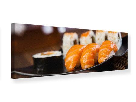 Leinwandbild Panorama Sushi-Gericht