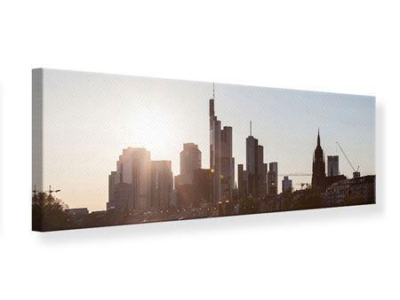 Leinwandbild Panorama Skyline Sonnenaufgang bei Frankfurt am Main