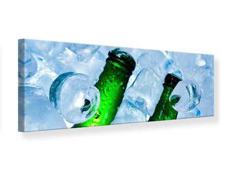 Leinwandbild Panorama Eisflaschen