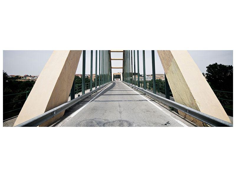 Leinwandbild Panorama Imposante Hängebrücke