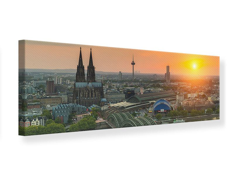 Leinwandbild Panorama Skyline Köln bei Sonnenuntergang