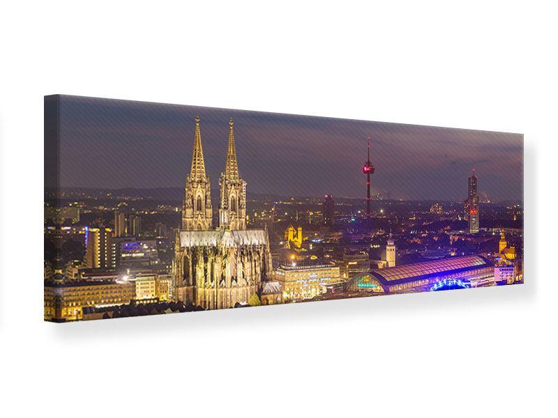 Leinwandbild Panorama Skyline Kölner Dom bei Nacht