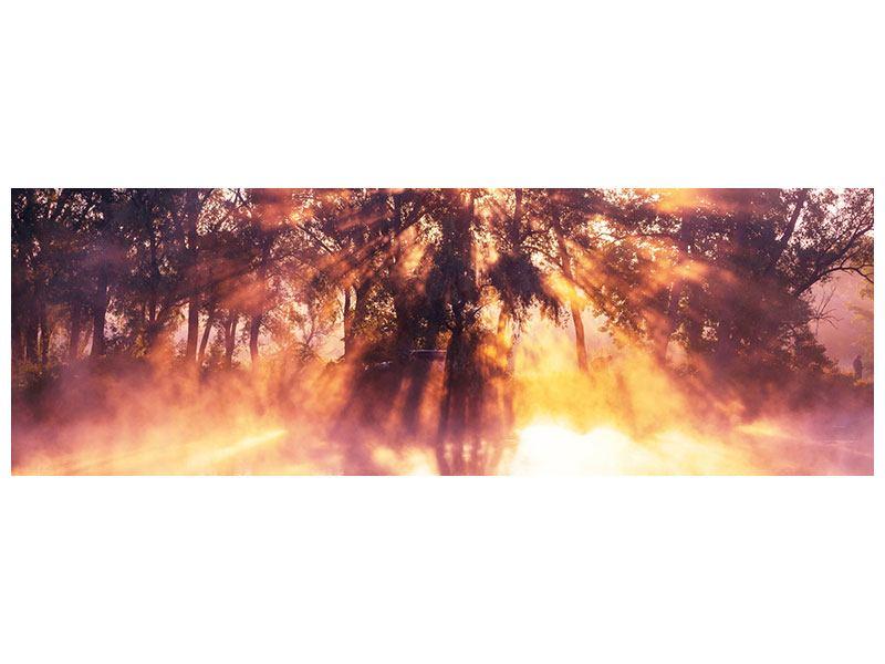 Leinwandbild Panorama Die Waldspiegelung