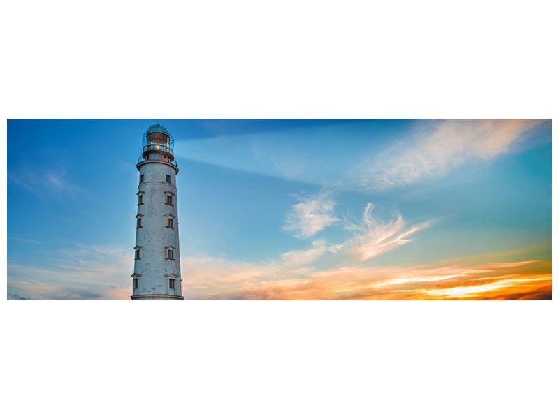 Leinwandbild Panorama Sonnenuntergang am Leuchtturm