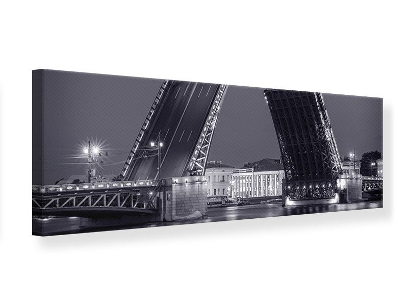 Leinwandbild Panorama Klappbrücke bei Nacht