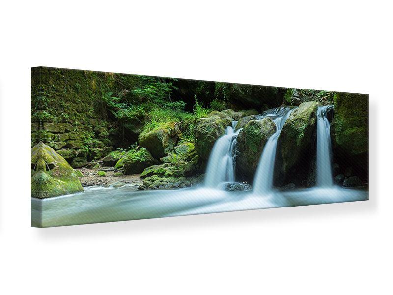 Leinwandbild Panorama Fallendes Wasser