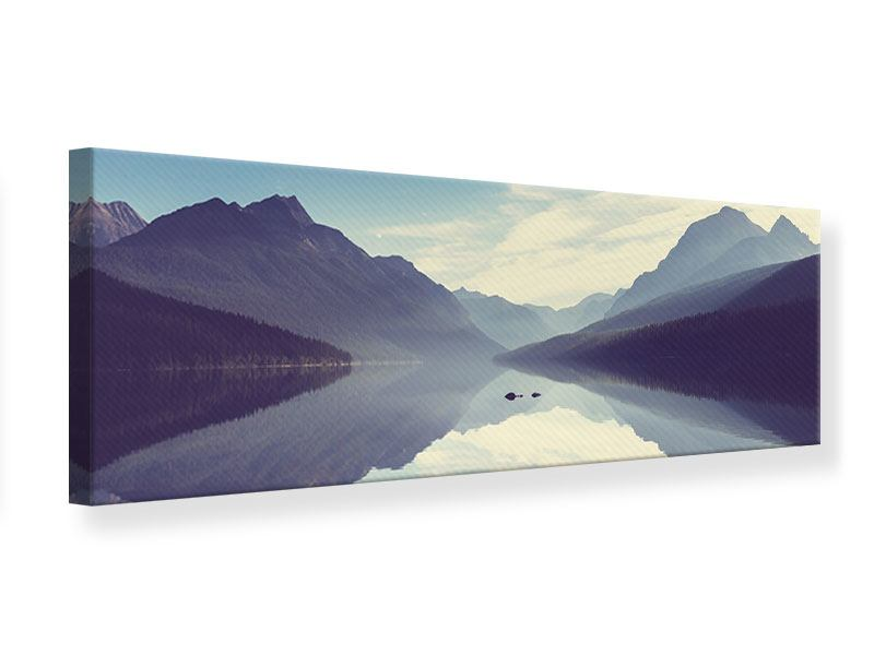 Leinwandbild Panorama Bergspiegelung