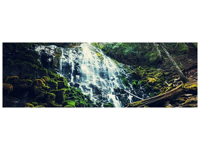 Leinwandbild Panorama Feng Shui & Wasserfall