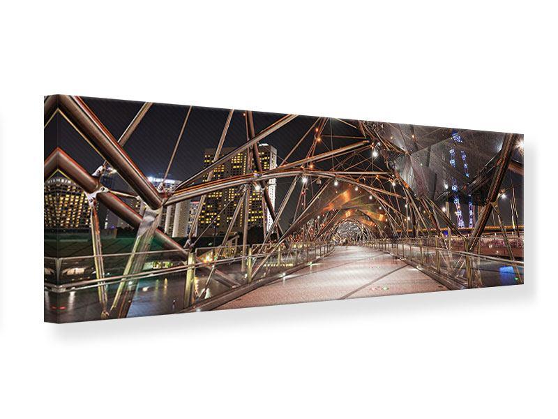 Leinwandbild Panorama Brückenlichter